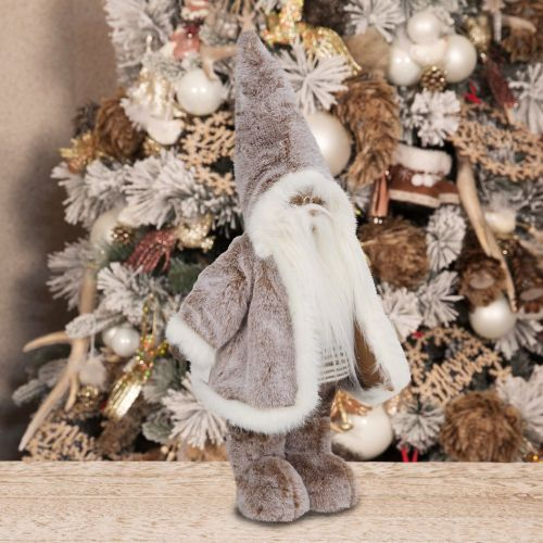 Standing Santa Claus Ornament Brown Faux Fur Christmas Decoration
